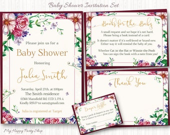 Floral Baby Shower Invitation Set, Roses, Watercolor, Digital File : Invitation, favor card, book request, diaper raffle, PRINTABLE - BSU037
