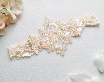 Wedding Garter , bridal garter, wedding lace garter,champagne Lace Garter, Tossing Garter only