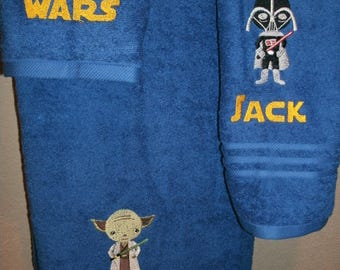 Yoda Star Wars Personalized Star Wars Yoda and Vader 3 piece Bath, Hand, Washcloth Towel Set