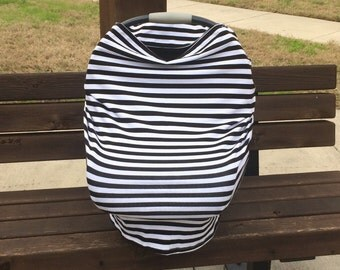 Stretchy Car Seat Cover, Black and White Stripes Stretchy Car Seat Cover, Stretchy Nursing Cover, 4 in 1 Car Seat Cover