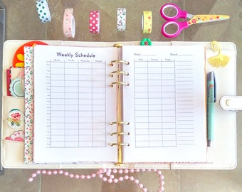 WEEKLY SCHEDULE A5 Planner Inserts Hourly Routine Planner Filofax Kikki K Large Refills Household Printable Schedule Weekly To do.