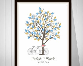 Wedding Tree Guest Book Vintage Wedding Fingerprint Tree Guest Book Gift for Wedding Thumbprint Guest Book Bicycle Print - 41677B