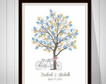 Wedding Tree Guest Book Vintage Wedding Fingerprint Tree Guest Book Gift for Wedding Thumbprint Guest Book Bicycle Print - 41677B