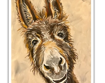 Donkey art, donkey art print, donkey prints,  Donkey decor. Donkey print from original canvas painting 'Raymond'.