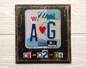 10th Anniversary Gift - Initials Anniversary Gift - License Plate Art - Gift for Her - Gift for Him - Gift of Tin Anniversary - Wedding Gift