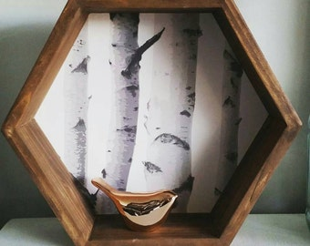 Hexagon Birch Tree Shelf