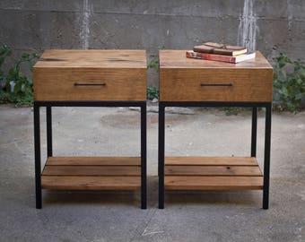 Wood and Steel Nightstands