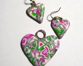 Pink, Green, Lavender, and White Floral Patterned Polymer Clay Heart Pendant with Matching Earrings Set