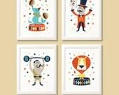 Circus nursery prints, circus print set, circus print set, circus wall art, circus nursery art, nursery decor, kids bedroom, kids decor.