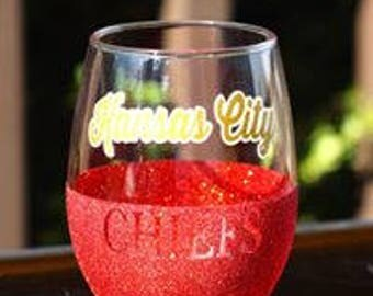 "Kansas City Chiefs ""Retro"" Glitter Glass"