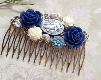 NEW! Blue And White Mermaid Silvertone Hair Comb