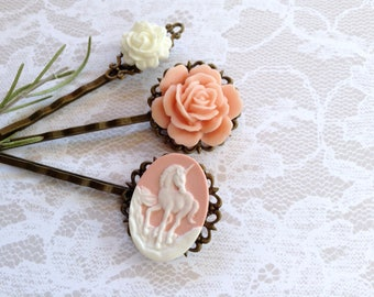 NEW! White on Pink Unicorn And Floral Hair Clips