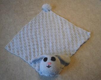 Crocheted light blue amigurumi bunny baby blanket/lovey