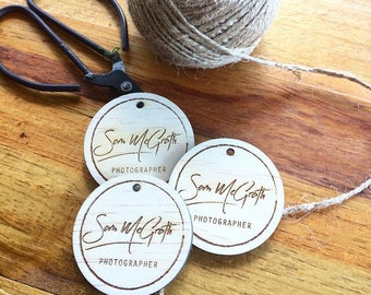 Wood tags with custom logo engraving - 10 Pack