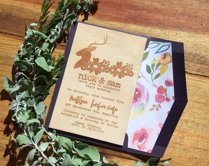 Wedding invitation. -Limited Edition Wood invitation and rustic florals lined envelope set- Stag wedding invitation. 10 pack
