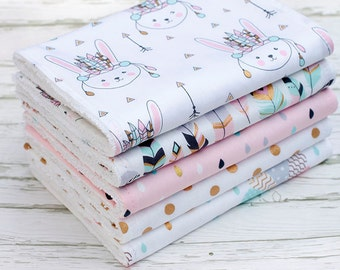 Baby Burp Cloths Set of 5, Baby Gift, Baby Shower, Newborn Burp Cloths, Baby Girl Burpcloths, Bunny Burpcloths, Feather Burp Cloths