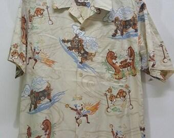 Vintage Mango button down dragon yiger sukajan shirt