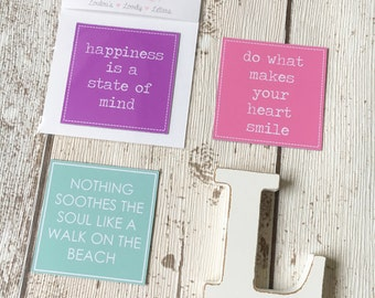 Inspirational Quote Magnet • Happiness is a state of mind • Do what makes your heart smile • Nothing soothes the soul like a walk on beach •