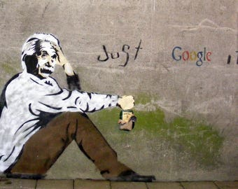 "Einstein, Just Google It, Graffiti Art, Giclee Print on Canvas, 8""x11"""