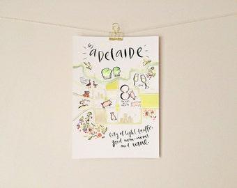 Radelaide A4 Print - Watercolour + Ink Illustration