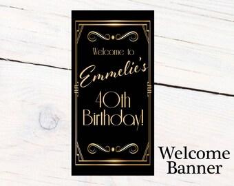 Great Gatsby Birthday Door Banner  ~ Personalize Retro Birthday Banner Party Banner
