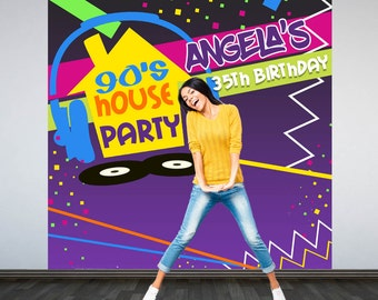 90's House Party Personalized Photo Backdrop -90s Photo Backdrop- Hip Hop Birthday Photo Backdrop - Custom Backdrop, Cake Table Backdrop
