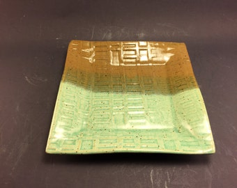 Small Square Plate with Chameleon and Clear Green Glazes, Ready to Ship