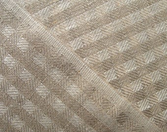 Linen Fabric Check Twill Weave Medium Weight By The Yard