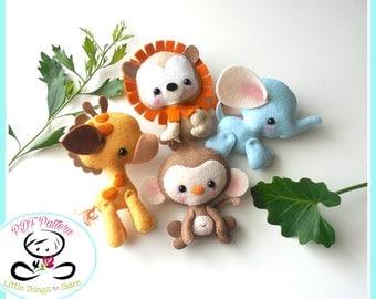 Wild Baby Animals set of Four-PDF sewing pattern-Elephant-Giraffe-Lion-Monkey-Felt ornaments-Animal ornament-Nursery decor-Baby's mobile toy