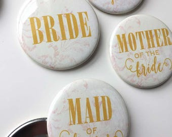 Bridal Shower/Bachelorette Pins - Gold & Ivory - pack of 7