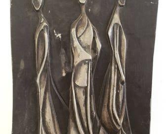 Vintage 1950s Mid Century Cast Aluminum Plaque Wall Sculpture  Three Gothic Women Brutalist Signed H Pulon 57