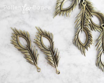 5pcs ∙ Antique Brass Feather Charm Double-sided Peacock Wing Pendant Jewelry Supplies