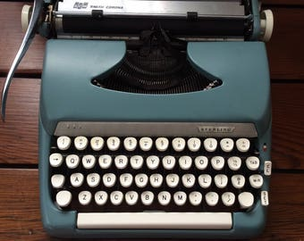 typewriter blue smith corona  sterling SCM