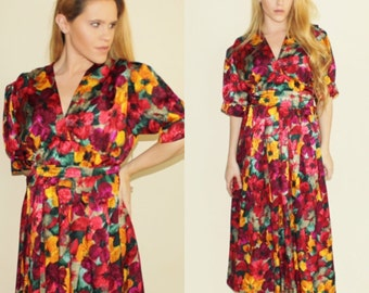Vintage 1980's Floral Poppy Red Purple Silky Belted Resort Summer Spring 80's Dress Retro Tea Party Midi High Waist Dress Large