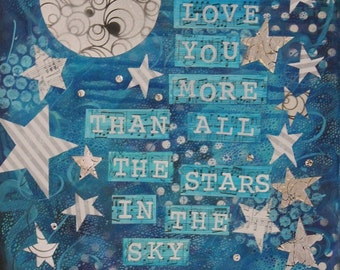 More than Stars matted print of original acrylic painting 5x7 matted for 8x10 frame free ship in US
