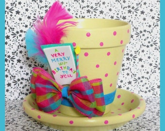 "Alice in Wonderland's Tea Party Inspired Flower Pot and Saucer - Alice in Wonderland Inspired Top Hat Planter - ""A Very Merry Un-Birthday"""