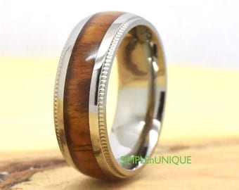 Wedding Band Wood Mens Titanium Engagement Ring