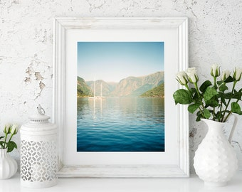 Hahnemühle Fine Art Print of Boat on a Norwegian Fjord.
