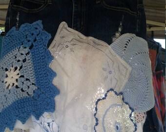 Doilie and denim skirt