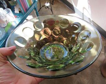 Vintage Thumbprint Green Glass Serving Bowl