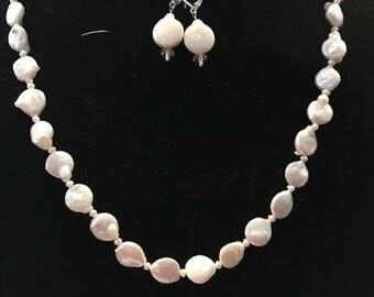Coin Pearl Necklace and Earring set