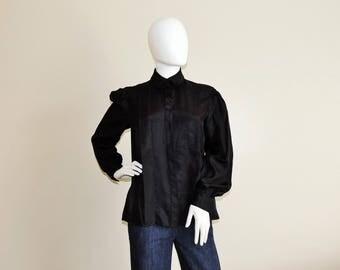 Vtg Diane von Furstenberg Black Scarf Shirt, Textured Button Up Blouse, Career Long Sleeve Top, Black Pleated Office Secretary Designer Top