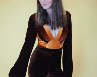 Sunrise Jumpsuit,  Velvet Plunge Neck Bell bottom, Bell sleeve 70s Jumpsuit, boho