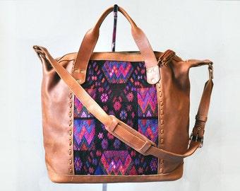 Gorgeous Dark Huipil Weekender Bag, Perfect Boho Weekender Bag, Guatemala Bag, Leather Carryall Bag, Boho Diaper Bag, Boho Carryall