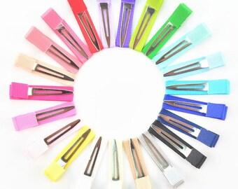 Set of 10pcs 45mmToddler Hair Clips, Baby Hair Clips, Ribbon Covered Hair Clips, Clips for Toddlers, Clips for Baby,Duckbill Clip-YTD07