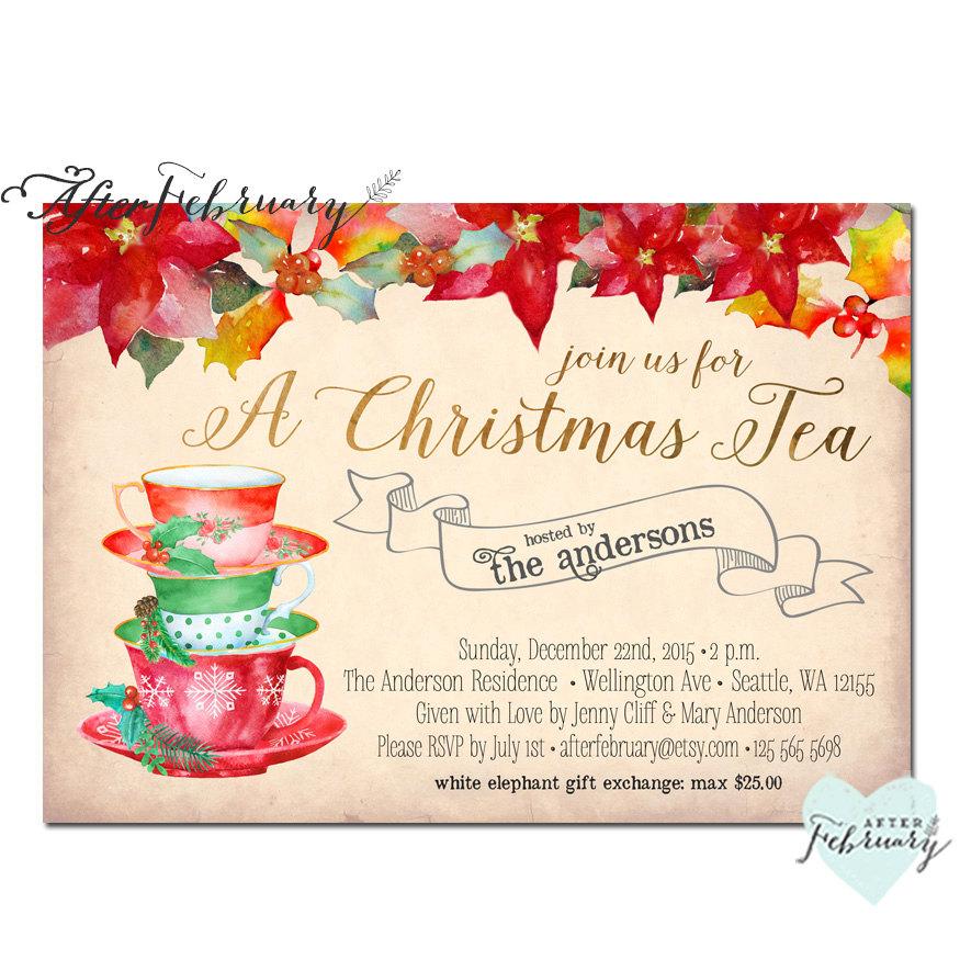 Christmas Tea Party Ideas: Christmas Tea Party Invitation Invites Christmas Tea