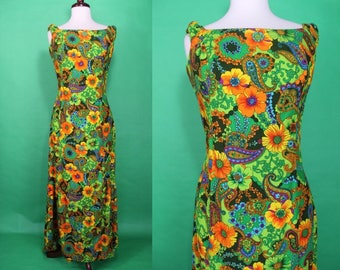 Hawaiian Dress........60's Psychedelic Floral Print Hawaiian Dress With Fishtail Back