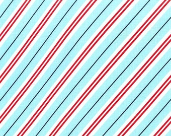 All the trimmings teal red candy cane stripe fabric from Michael Miller fabrics, Candycane stripe fabric by the yard,Chrismas candy fabric