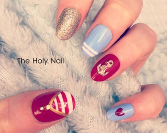 FALSE NAILS - Red, Blue, Gold Nautical, Sailor - Stick On - The Holy Nail