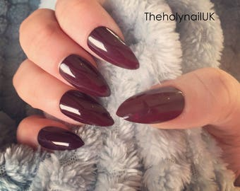 FALSE NAILS - Burgundy - Stick On - The Holy Nail